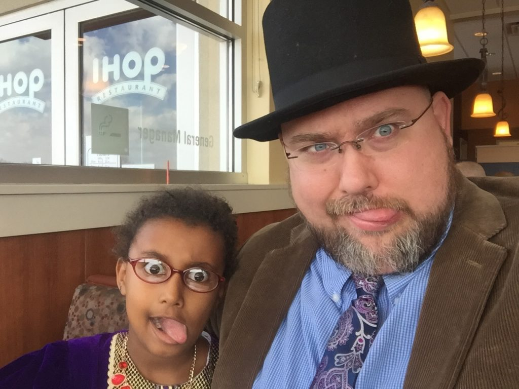 Silly Yemi and Daddy at IHOP. Spring 2016